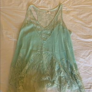 Intimately Free People Sea Foam Lace Tank